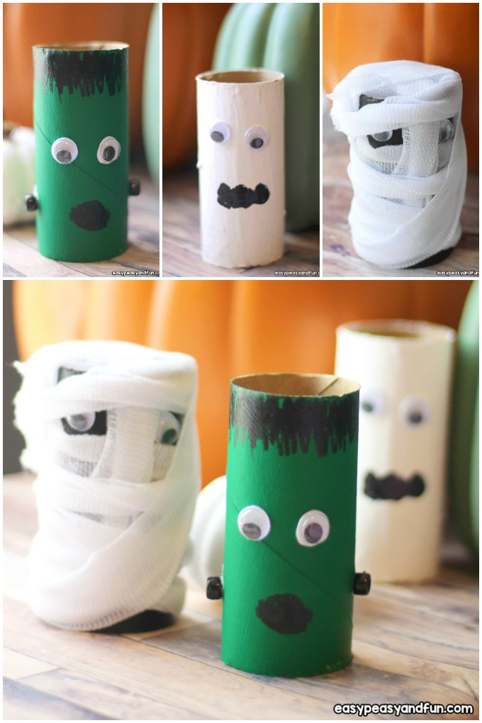 Halloween paper roll crafts for kids.