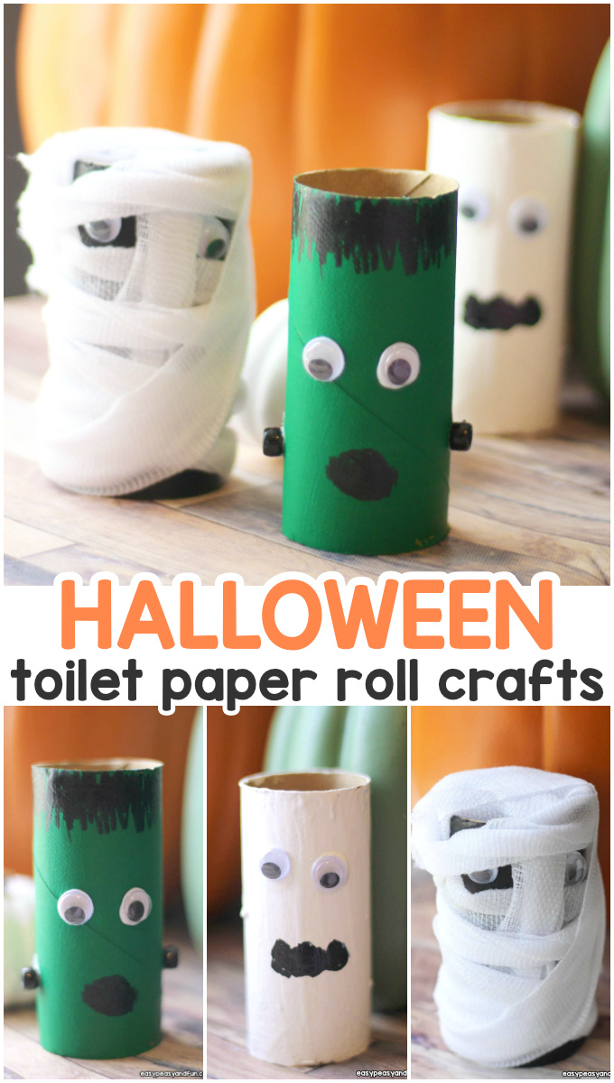 Halloween toilet paper roll crafts ideas for kids.