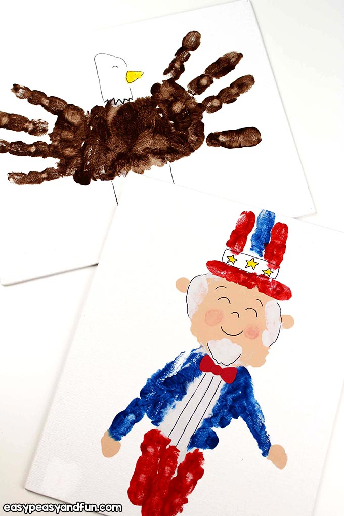 Handprint Art - Eagle and Uncle Sam