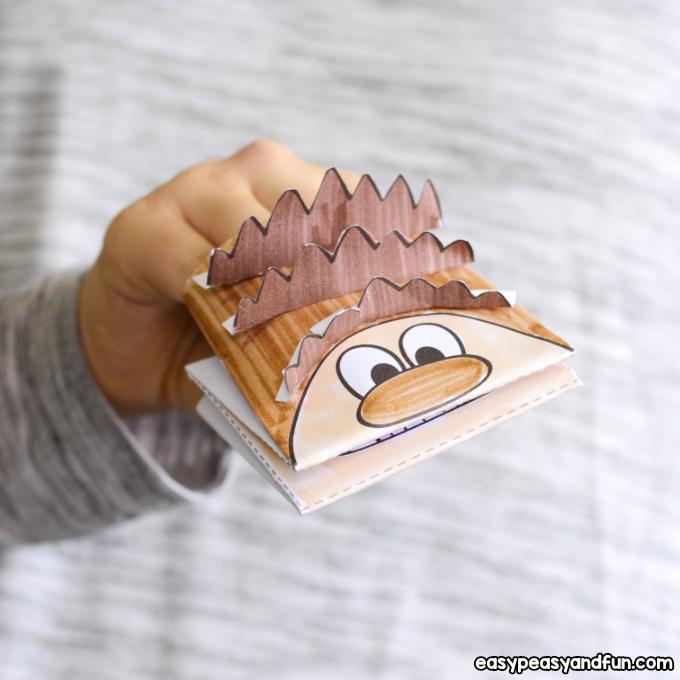 Hedgehog Puppet Printable Template Craft