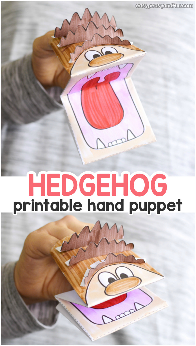 Hedgehog Puppet Printable Template Fall Craft for Kids