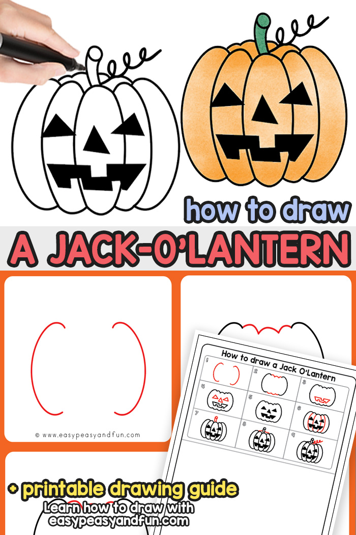 How to Draw a Jack o Lantern - step by step Halloween drawing tutorial