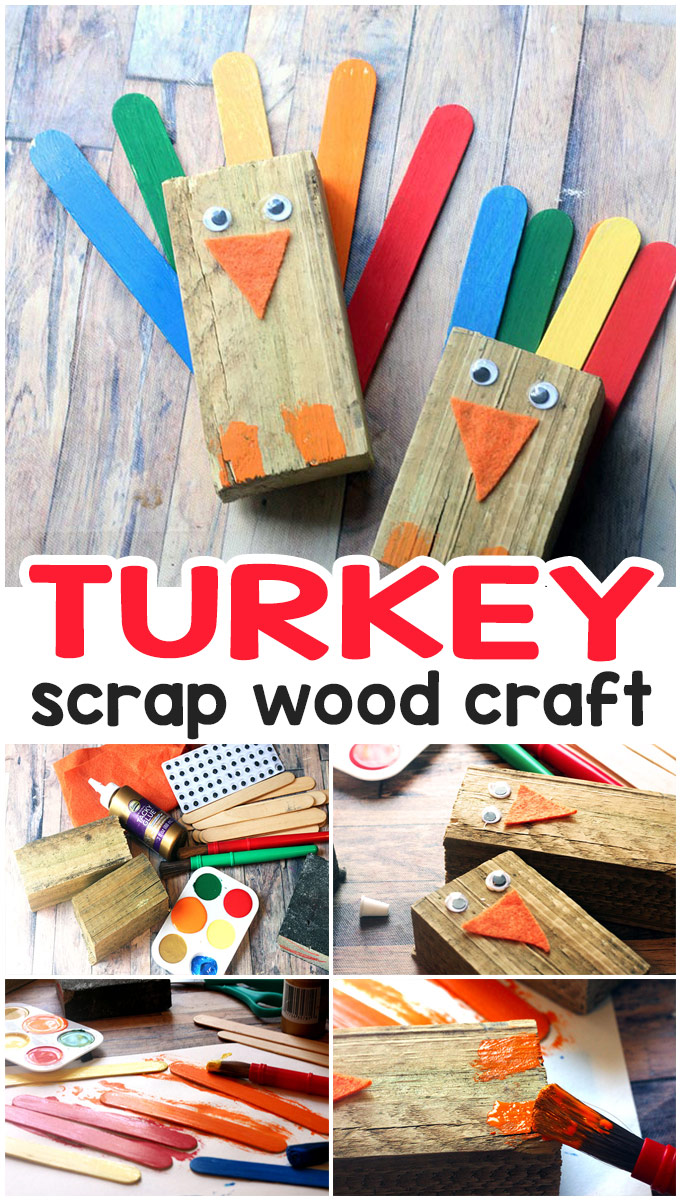 How to Make Wood Scrap Turkey Craft - Easy Thanksgiving craft idea for kids