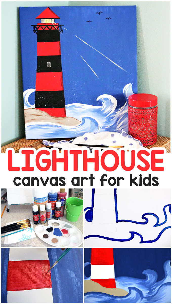 an easy lighthouse painting tutorial for kids and grownups alike