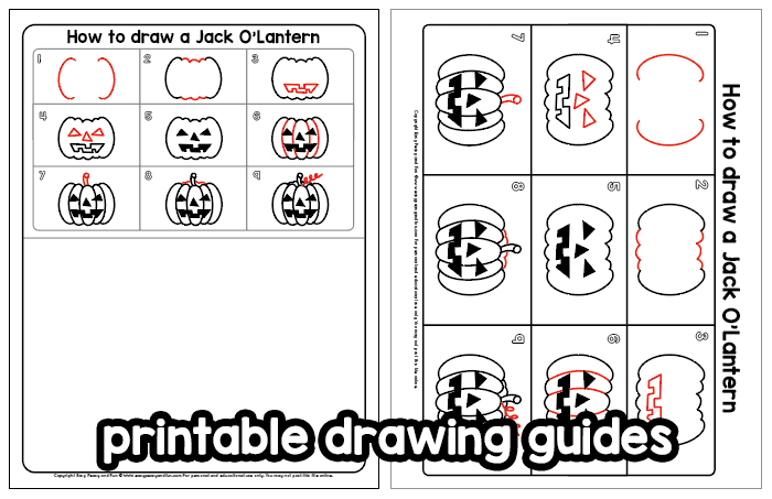 Jack-o-lantern printable drawing guide