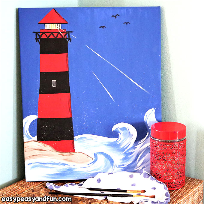 Lighthouse Painting Tutorial for Kids