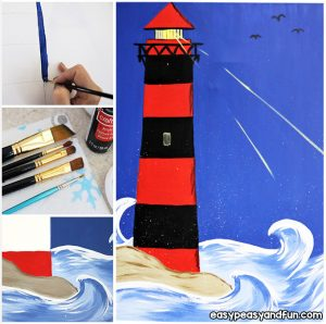Lighthouse on Canvas Tutorial for Kids