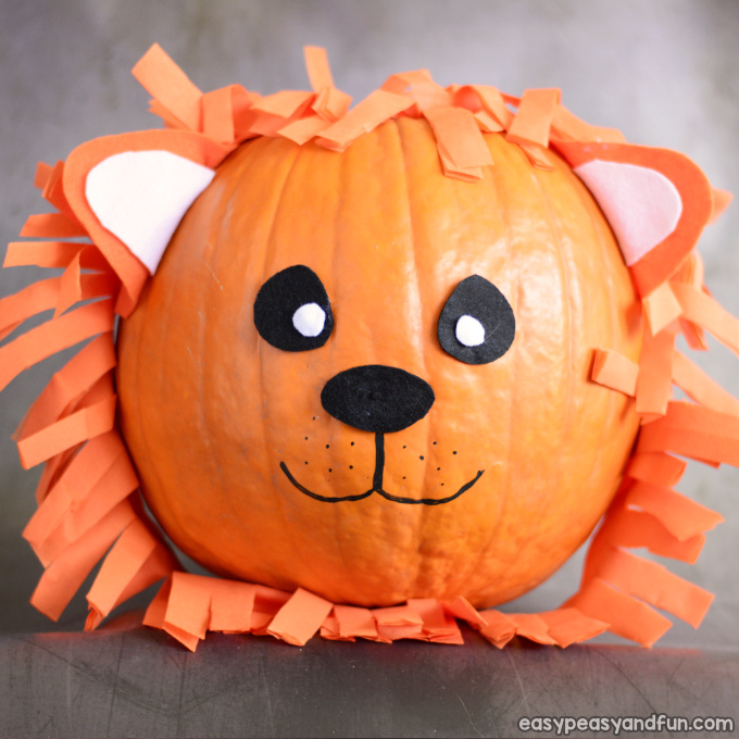 Lion Pumpkin Painting Idea