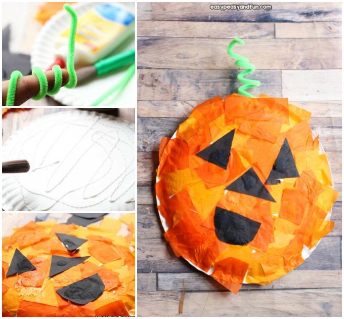 Mosaic Pumpkin Paper Plate Craft Idea for Kids