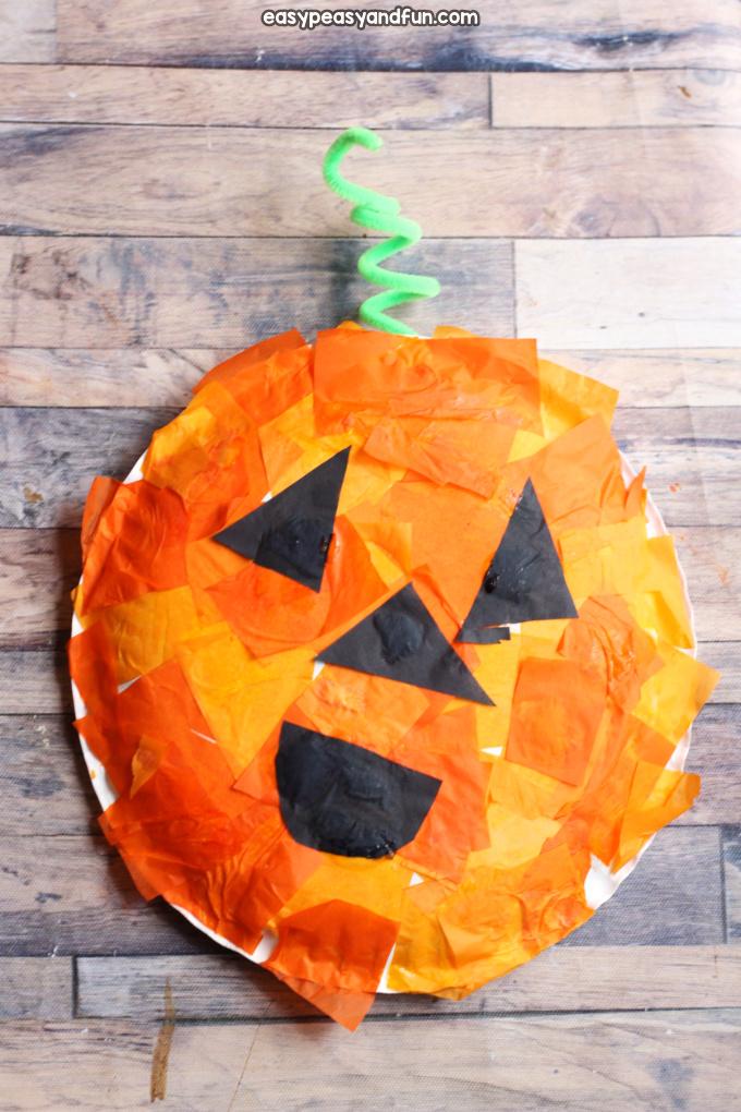 Mosaic Pumpkin Paper Plate Craft for Kids