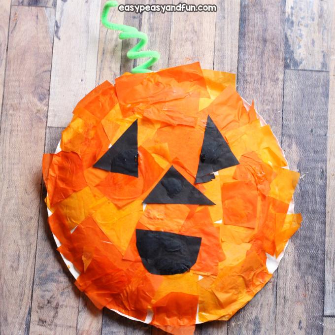Tissue Paper Mosaic Pumpkin Paper Plate Craft Easy Peasy