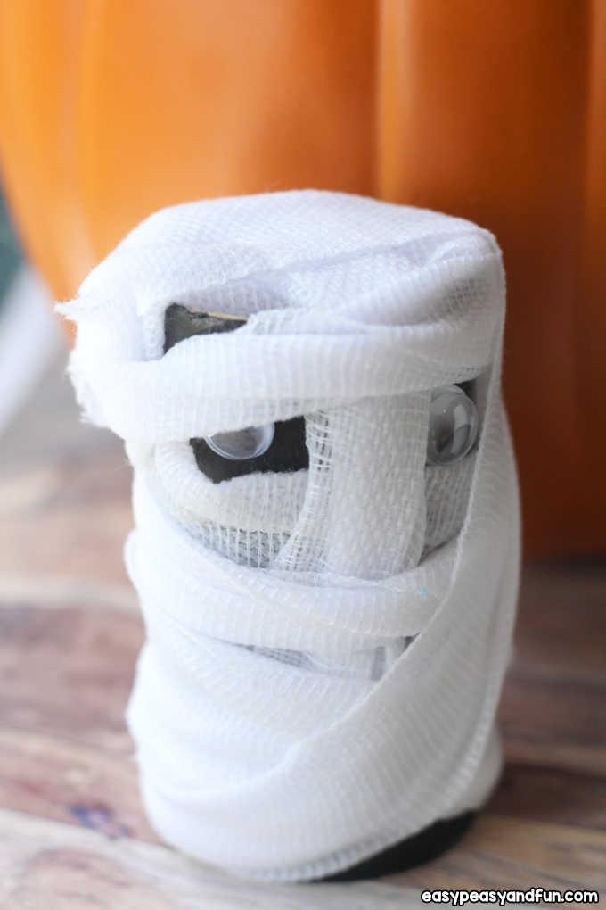 Mummy toilet paper roll craft.