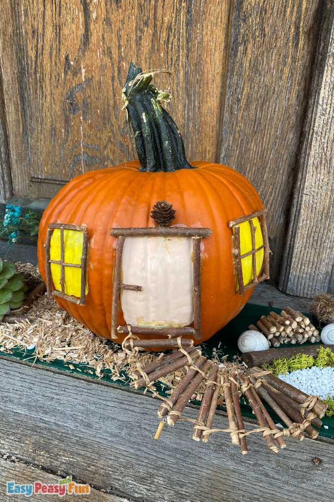 No Carve Pumpkin Fairy House