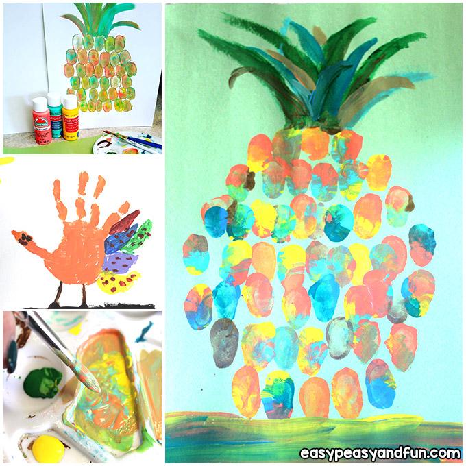 Pineapple Fingerprint Art for Kids