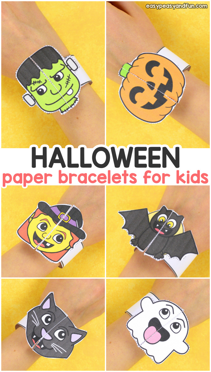 graphic relating to Printable Holloween titled Halloween Bracelets for Children - Printable Paper Bracelets