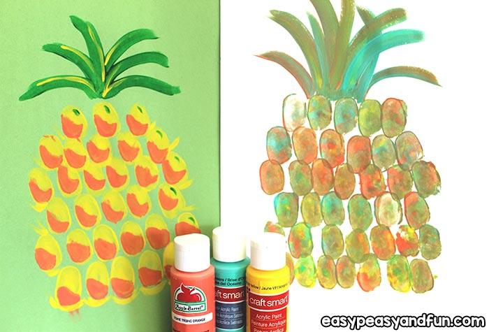 Simple Pineapple Thumbprint Art