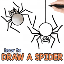 how to draw an easy and cute spider