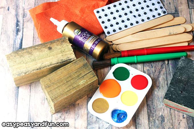 Supplies to make a Wood Scrap Turkey Craft