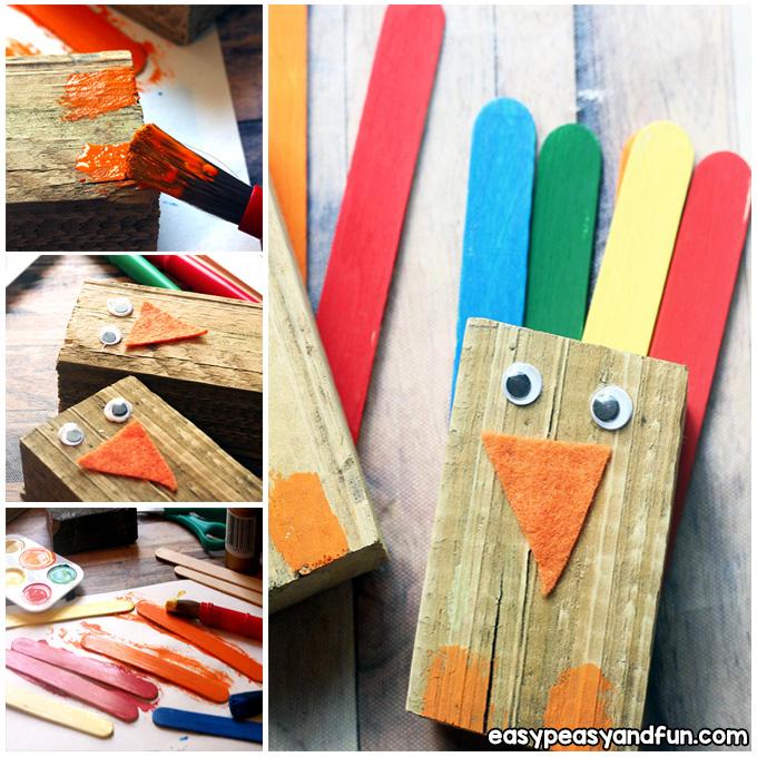 Wood Scrap Turkey Craft for Kids