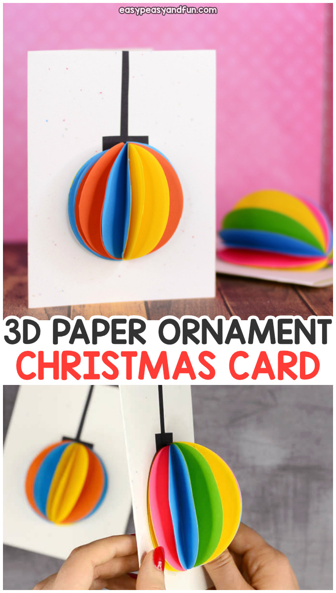 3D Paper Ornament Christmas Card Idea for Kids to Make