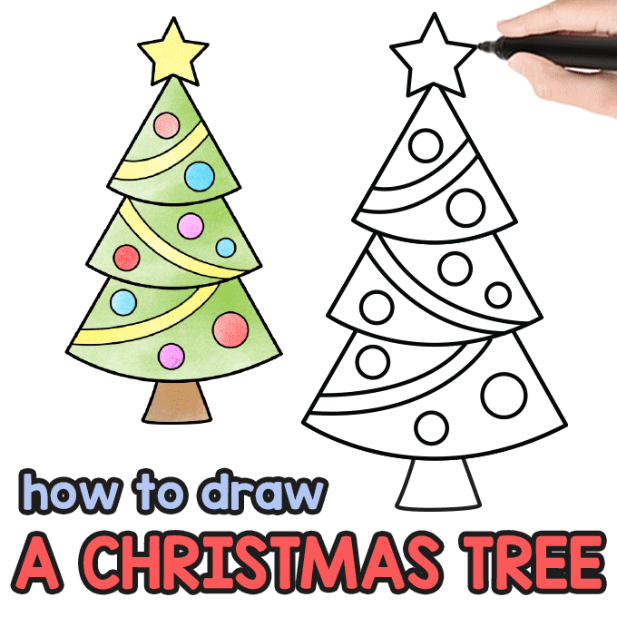Christmas Pictures To Draw.How To Draw A Christmas Tree Step By Step Drawing Tutorial