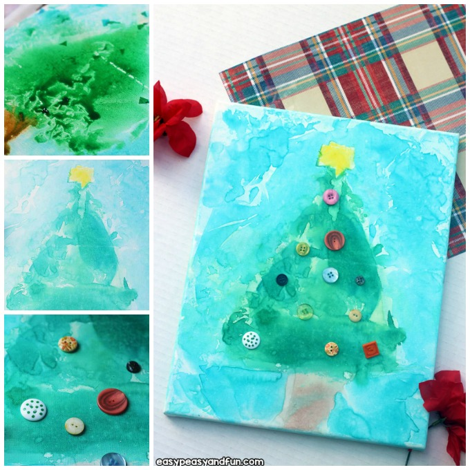Christmas Tree Tissue Paper Bleed Art Idea