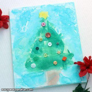 Christmas Tree Tissue Paper Bleed Art for Kids