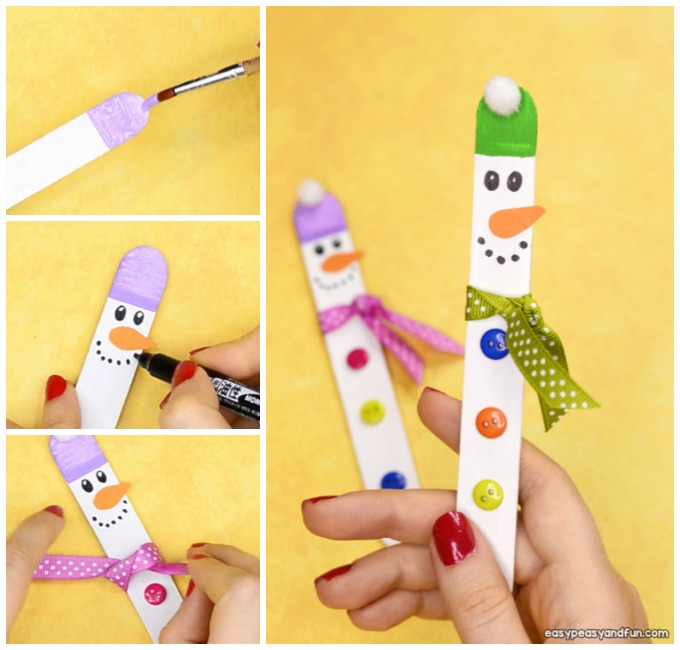 Craft Stick Snowman Idea for Kids