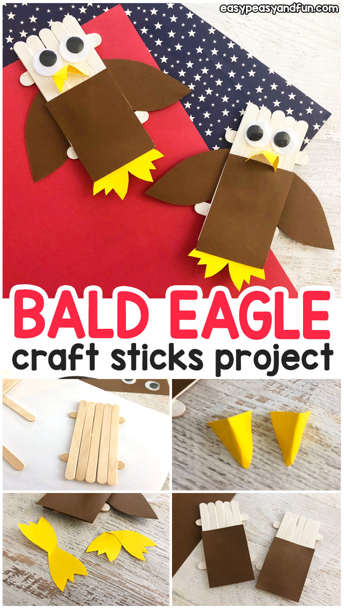 Craft Sticks Bald Eagle – 4th of July Craft Idea for Kids