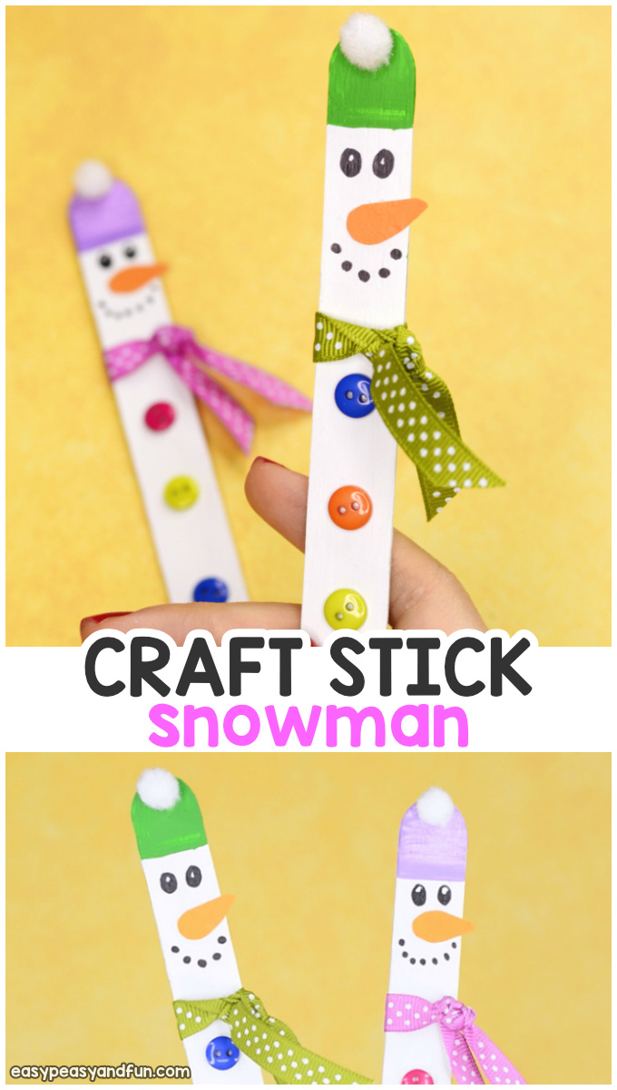 Craft Stick Snowman Easy Snowman Craft For Kids Easy