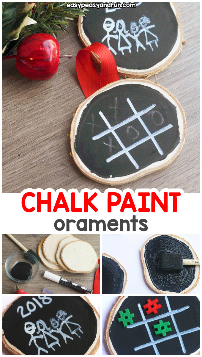 DIY Chalk Paint Ornaments - These easy Christmas craft for kids is a must make this year. Such an easy DIY ornament idea. #easypeasyandfun