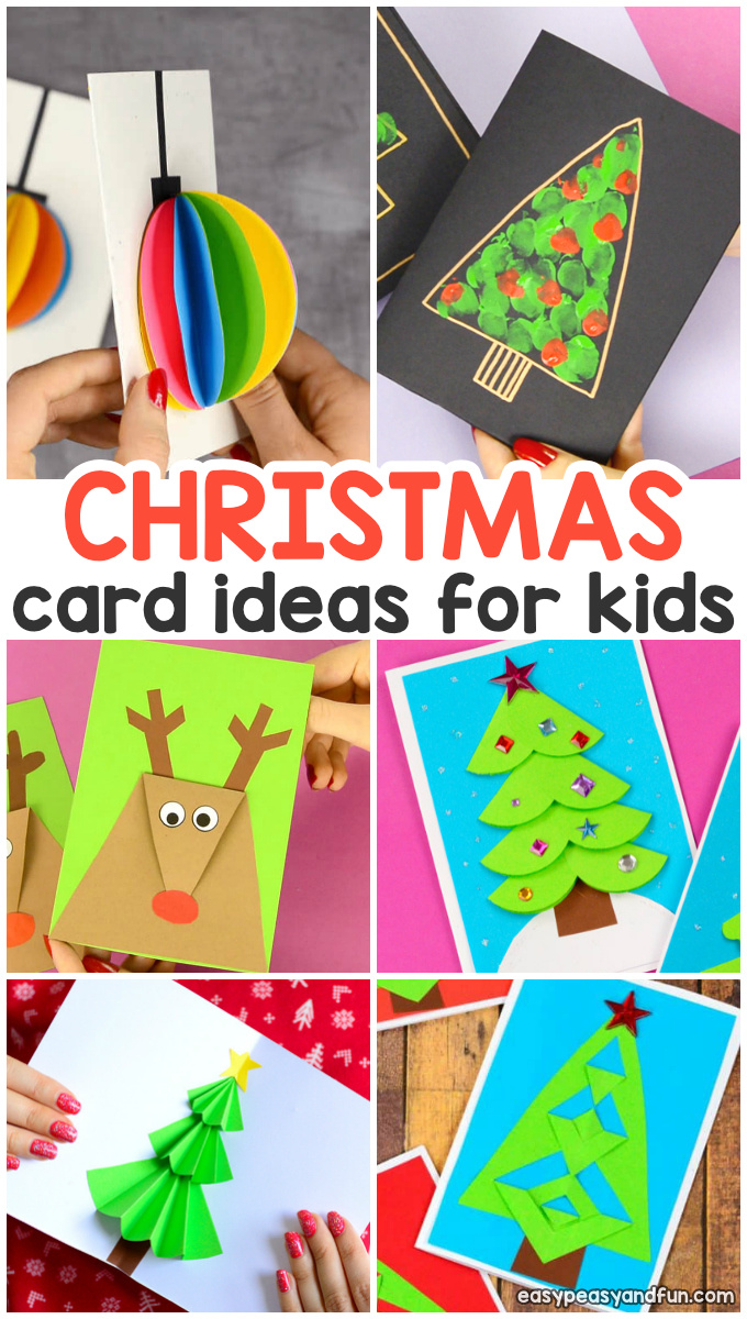 DIY Christmas Card Ideas for Kids. Making Christmas cards is always fun Christmas activity for kids.