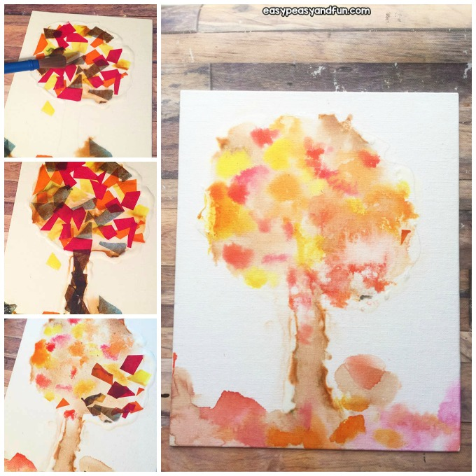 Fall Bleeding Tissue Paper Art Activity