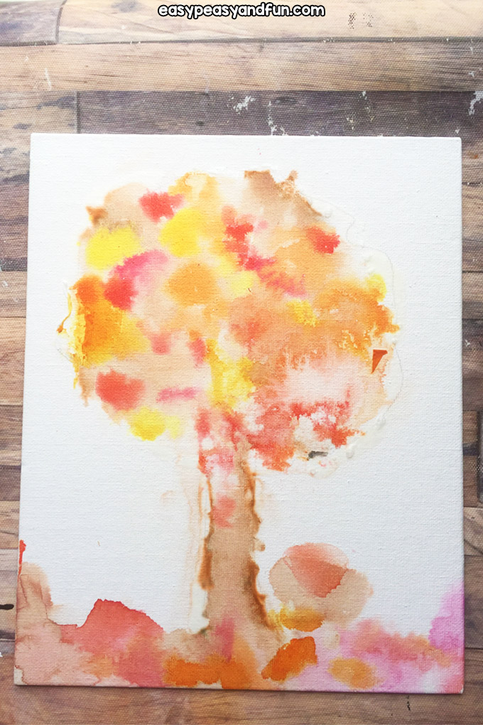 Fall Bleeding Tissue Paper Art for Kids