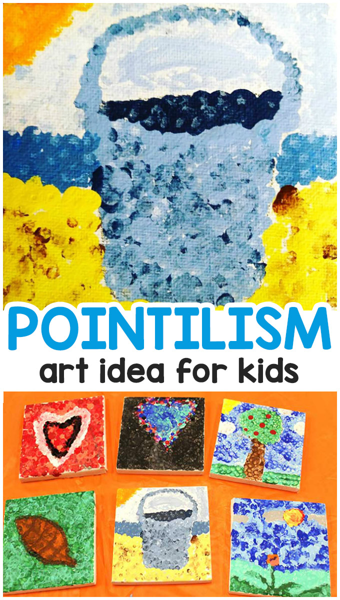 Georges Seurat Pointillism Art Lesson for Kids - Easy art idea for kids