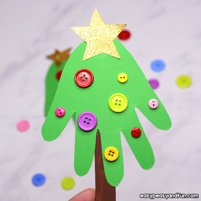 Handprint Christmas Tree Ornament Craft Idea for Kids to Make