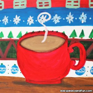 Hot Cocoa Christmas Canvas Painting Tutorial for Kids to Make