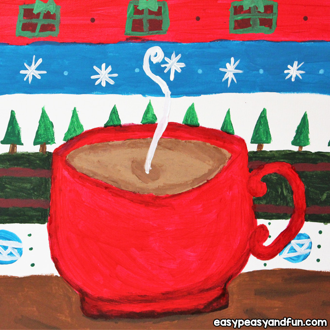 Hot Cocoa Christmas Canvas Painting Tutorial for Kids