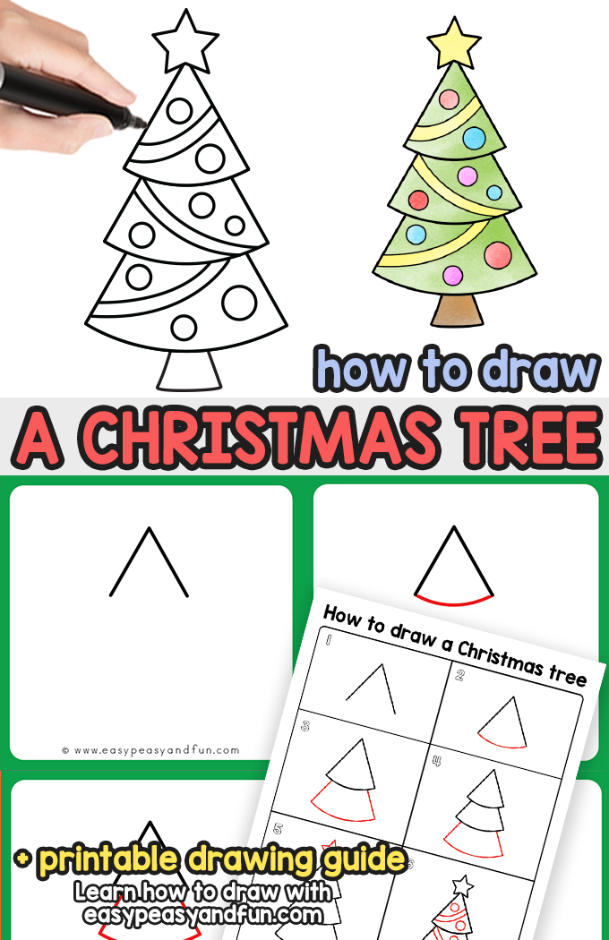 How to Draw a Christmas Tree Step by Step Tutorial. Super easy Christmas tree drawing tutorial for all ages.
