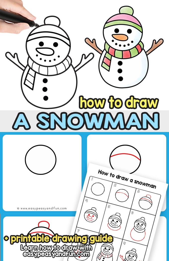 How to Draw a Snowman Step by Step Tutorial