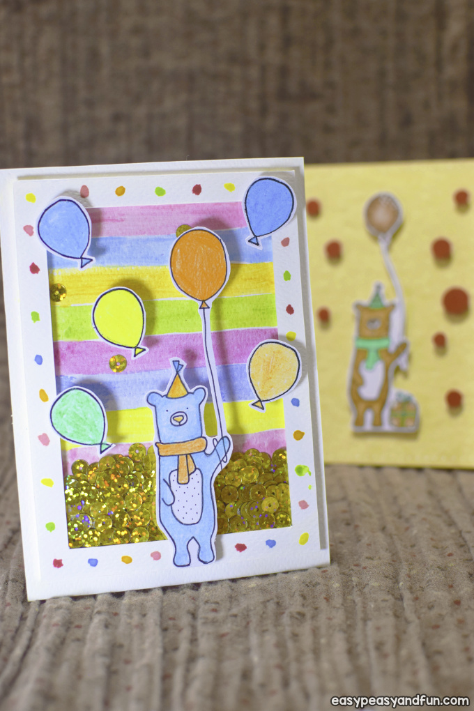 How To Make A Birthday Shaker Card Homemade Birthday Card Easy