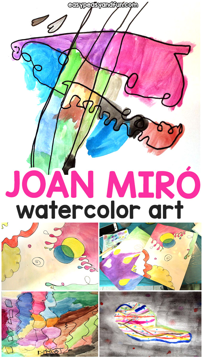 Joan Miro Watercolor Art - Simple waterfcolor art lesson for kids - doodle fun