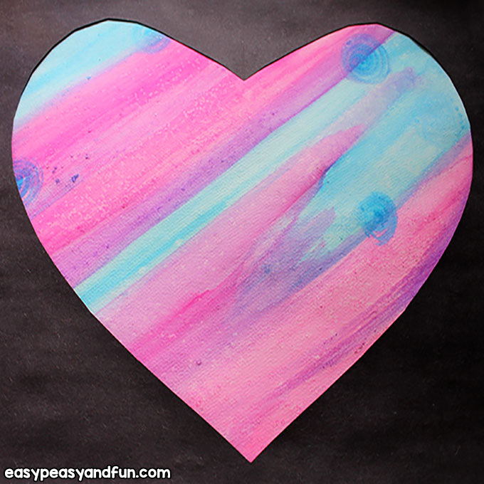 Paint a Heart with Watercolors and Salt - Art for Kids