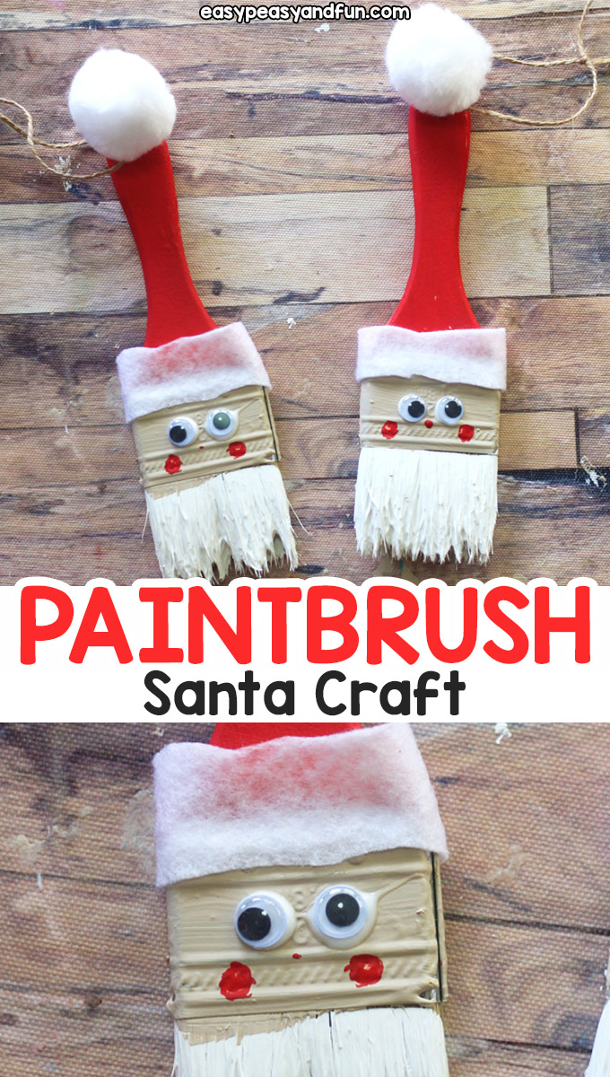 Paintbrush Santa Ornament - Fun recycled Christmas craft for kids or a DIY Christmas ornament to make