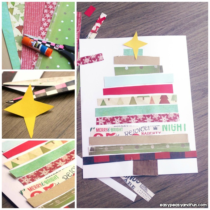 Paper Collage Christmas Tree Craft Idea