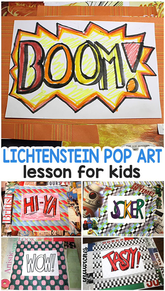 Pop Art Lesson For Kids Lichtenstein Mixed Media Easy