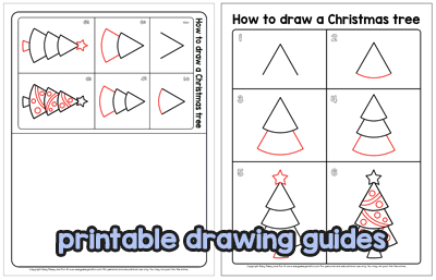 Printable Drawing Guides - Christmas Tree