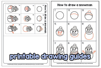 Printable Drawing Guides - Snowman