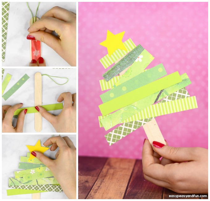 Scrap Paper Christmas Tree Craft Idea for Kids to Make