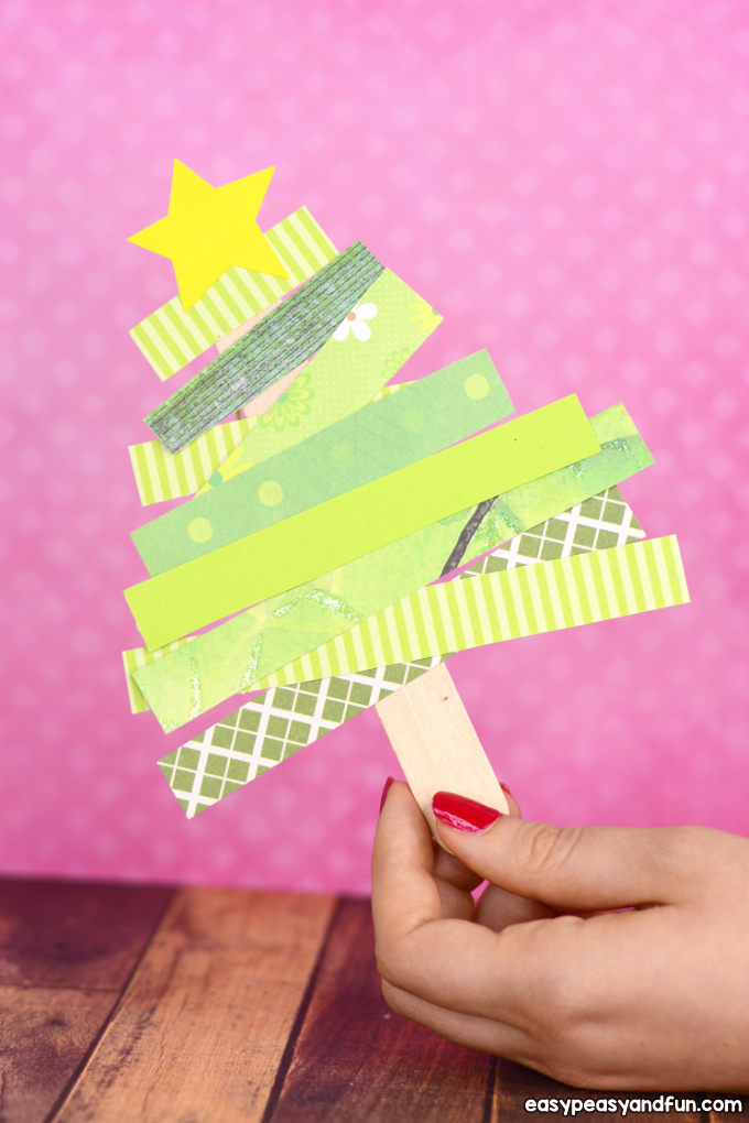 Scrap Paper Christmas Tree Craft Idea for Kids - Easy Cristmas craft for preschool